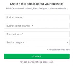 set up a Nextdoor business page